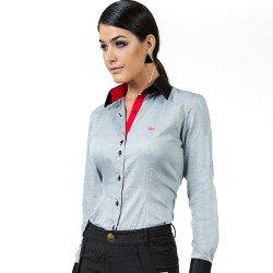 detalhe camisa maquinetada premium cinza feminina principessa joana look
