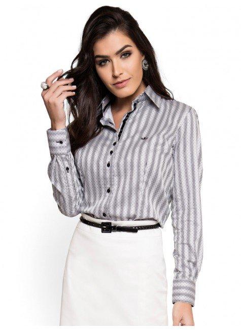 camisa social premium feminina listrado poa principessa jessika fio egipcio look