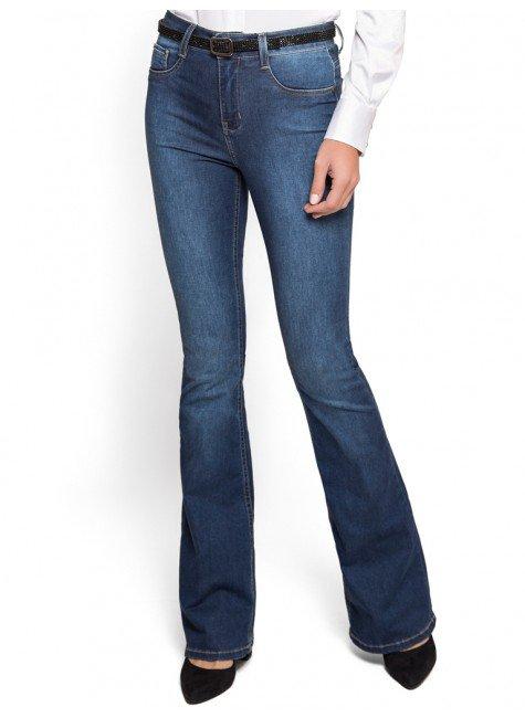 calca flare jeans claro cintura media denim zero look