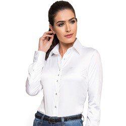 camisa social feminina branca cetim botao cristal principessa aurea look detalhe