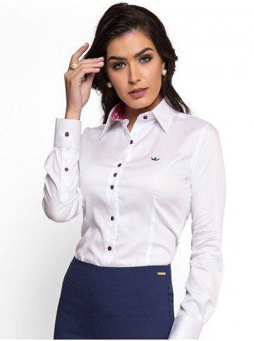 camisa feminina branca principessa nalva social