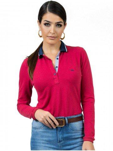 camisa polo vermelha feminina manga longa principessa helen look