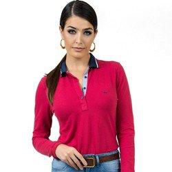 detalhe camisa polo vermelha feminina manga longa principessa helen look
