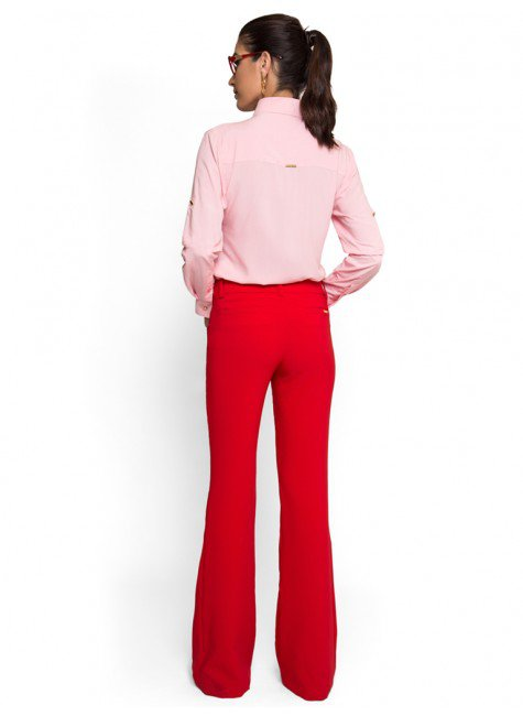 f0befb33a ... calca flare alfaiataria vermelha social principessa wenza look completo  costa ...