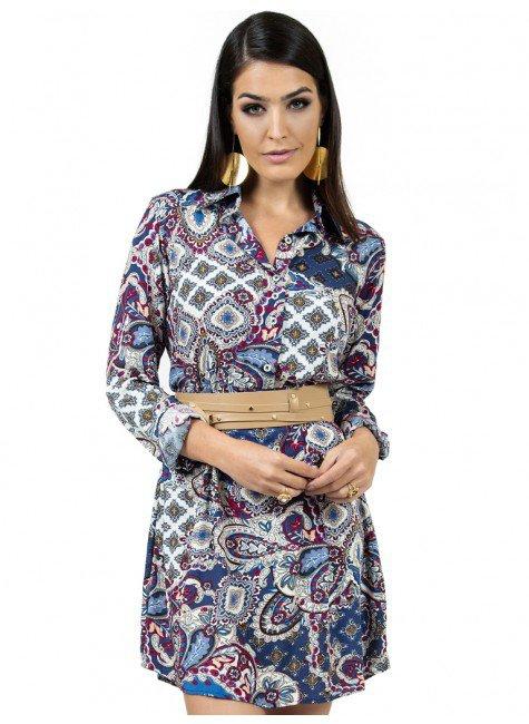 vestido chemise estampado manga longa principessa isidora look