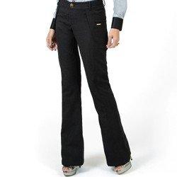 detalhes calca feminina preta cintura alta social principessa francesca aviamentos dourados