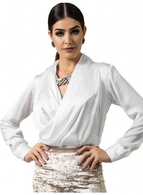 camisa branca transpassada feminina principessa look