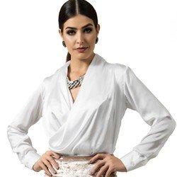 blusa transpassada branca aurora decote v look