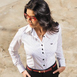 camisa social feminina branca principessa shirlene detalhes