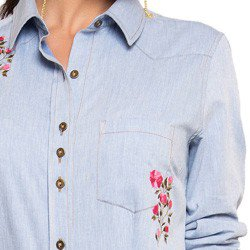 camisa jeans com bordado principessa elizane bolso