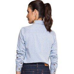 camisa jeans com bordado principessa elizane tecido modelagem