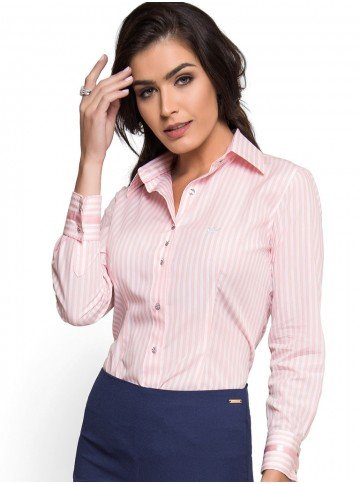 camisa premium listrado rosa principessa athina botao cristal look
