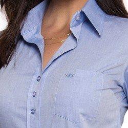 camisa social feminina com bolso principessa thaiza detalhes bordado