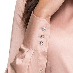 camisa social feminina nude principessa glauce botao cristal detalhe