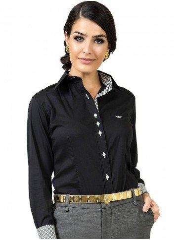 camisa social preta com elastano principessa lara look