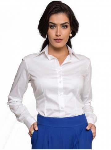 camisa basica branca com elastano feminina principessa roberta look all white