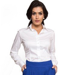 camisa basica branca com elastano feminina principessa roberta look detalhe