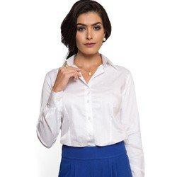 camisa basica branca com elastano feminina principessa roberta look detalhe modelagem