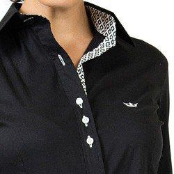camisa social preta com elastano principessa lara acabamentos