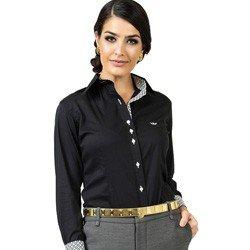 camisa social preta com elastano principessa lara acabamentos compre