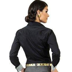 camisa social preta com elastano principessa lara acabamentos corte modelagem