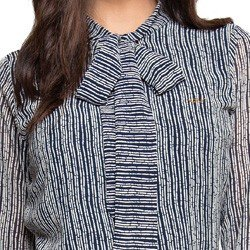 camisa gola de laco estampada marinho principessa lorita