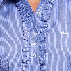 camisa social com babado tendencia verao listrado principessa darlen