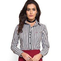 camisa social listrada preto com elastano principessa edla tricoline