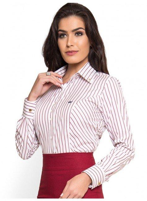 camisa social premium listrada principessa mila use com saia lapis