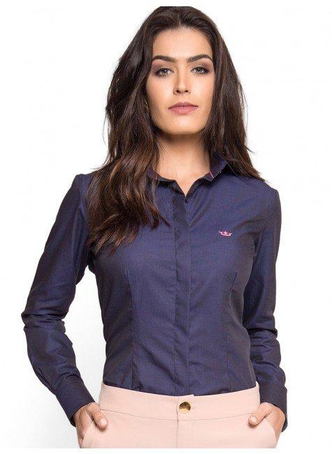 camisa social premium marinho maquinetado principessa nadine look