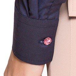 camisa social premium marinho maquinetado principessa nadine botao cristal detalhe
