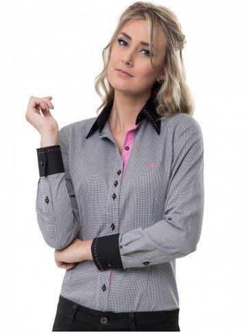 camisa micro xadrez preto social feminina principessa rosa look
