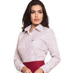 camisa premium social feminina listrada marsala principessa mila colarinho tecido fio egipcio