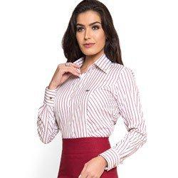 camisa premium social feminina listrada marsala principessa mila colarinho tecido fio egipcio look