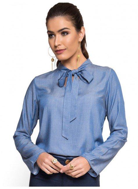 blusa imita jeans gola laco principessa manuela manga flare look