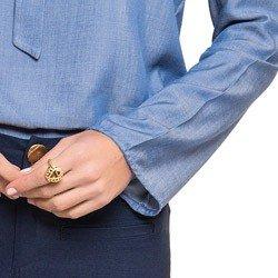 blusa imita jeans gola laco principessa manuela manga flare detalhe