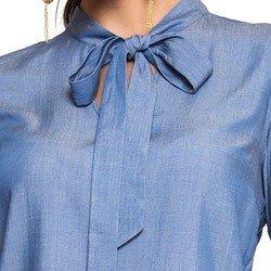 blusa imita jeans gola laco principessa manuela manga flare laco detalhe