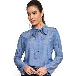 blusa imita jeans gola laco principessa manuela manga flare laco look
