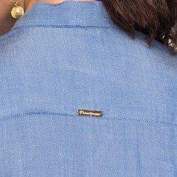 blusa imita jeans gola laco principessa manuela manga flare placa metal ouro
