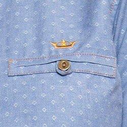 camisa jeans feminina maquinetado principessa jordane com bolso