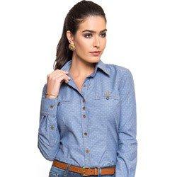 camisa jeans feminina maquinetado principessa jordane comprar