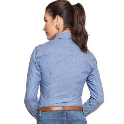 camisa jeans feminina maquinetado principessa jordane comprar look