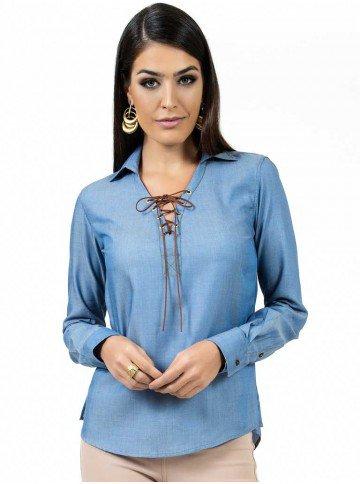 blusa ampla com amarracao feminina principessa juce cadarco compre
