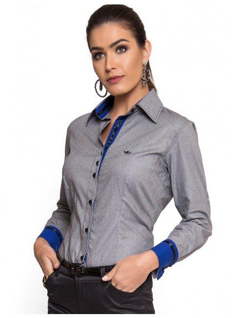 camisa social feminina micro xadrez principessa cleo look