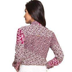 camisa gola de laco estampada principessa ana leticia detalhes look costura modelagem
