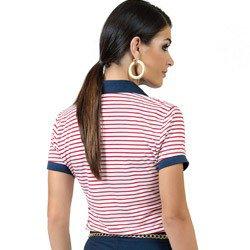 polo feminina listrada navy principessa claudine estilo vermelha modelagem