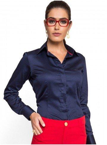 camisa social feminina marinho principessa leona acabamento look tecido algodao