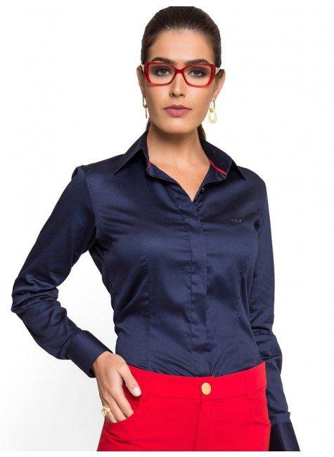 camisa social feminina marinho principessa leona acabamento look tecido  algodao 51f4f2999334d