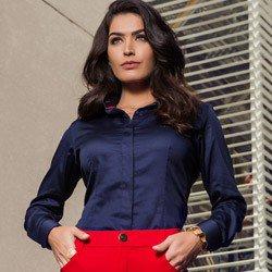camisa social marinho principessa leona basica tecido fio egipcio