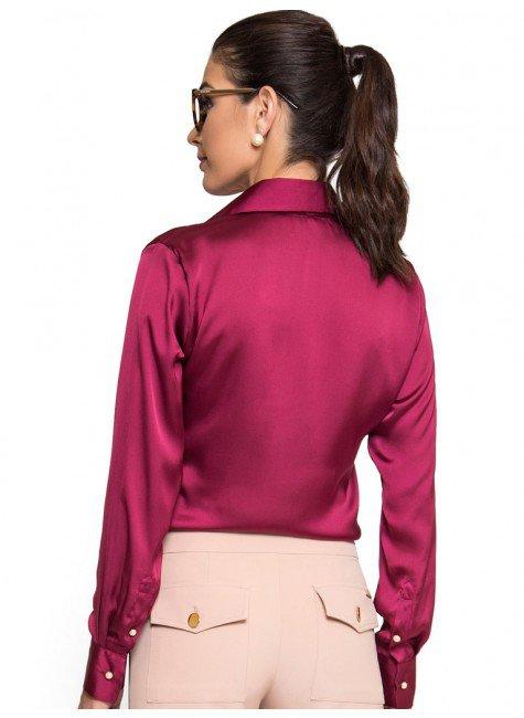 fb94b6b4b6 ... camisa marsala feminina de cetim principessa liliana botao perola look  costa ...